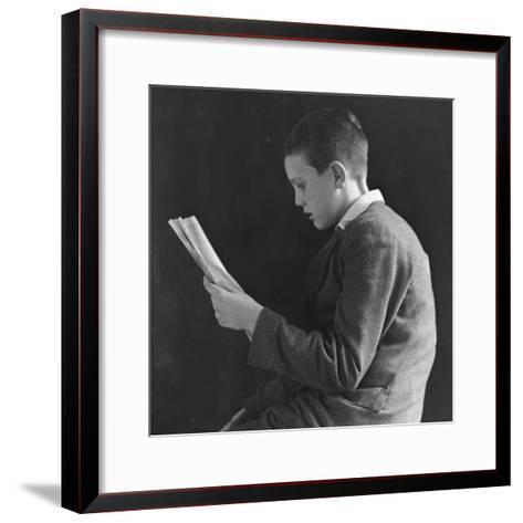Boy Reading, Photographic Portrait 1936--Framed Art Print