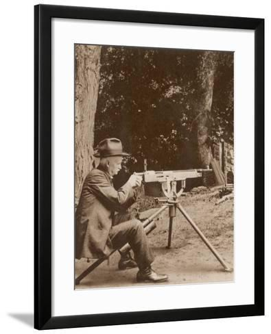 Browning American Inventor John Moses Browning with One of His Machine Guns--Framed Art Print