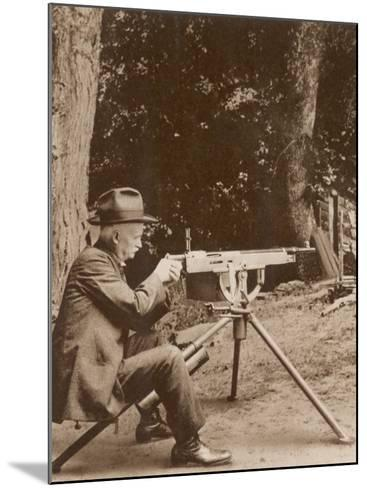 Browning American Inventor John Moses Browning with One of His Machine Guns--Mounted Photographic Print