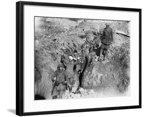 German Prisoners are Escorted in from the Battlefield During the Battle of Thiepval Ridge-Robert Hunt-Framed Art Print