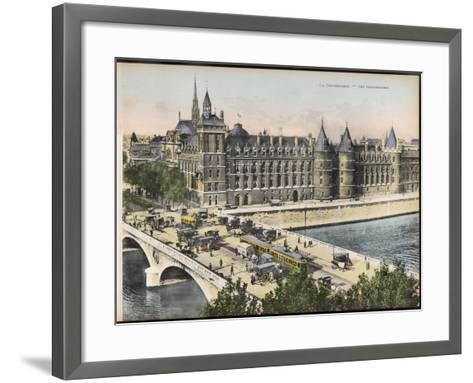 La Conciergerie, with the Pont Au Change Full of Traffic--Framed Art Print