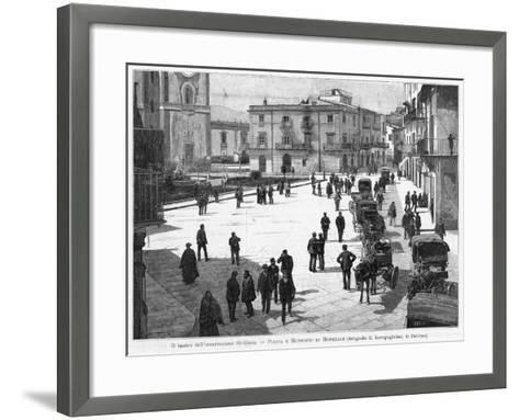 Piazza E Municipio at Monreale, at the Time of the 1894 Insurrection--Framed Art Print