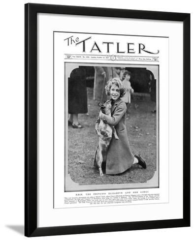 Princess Elizabeth and Her Corgi--Framed Art Print