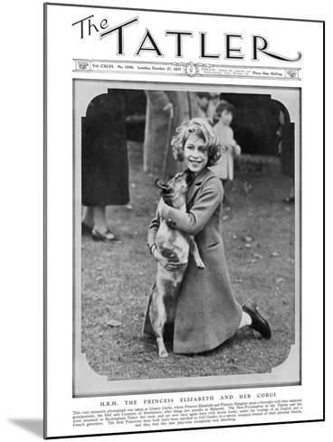 Princess Elizabeth and Her Corgi--Mounted Photographic Print