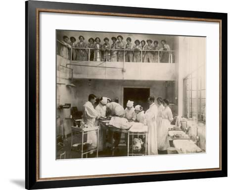 Nurses Watch a Surgical Demonstration from a Balcony--Framed Art Print