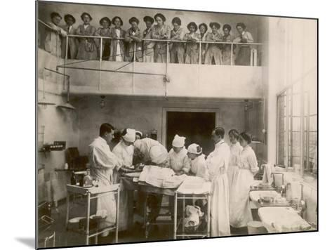 Nurses Watch a Surgical Demonstration from a Balcony--Mounted Photographic Print