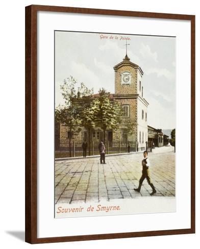 Railway Station (Gare De La Pointe) at Izmir (Smyrne), Turkey--Framed Art Print
