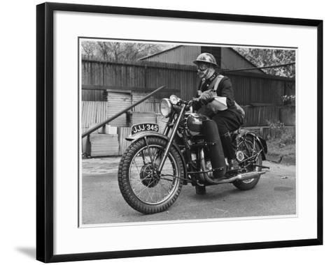Metropolitan Police Officer on a Triumph Motorcycle During World War II--Framed Art Print