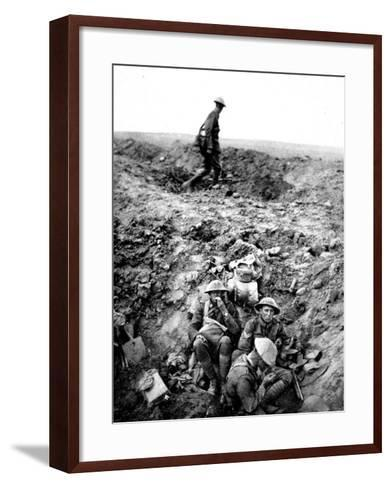 New Zealand Soldiers Resting in Shell-Hole--Framed Art Print