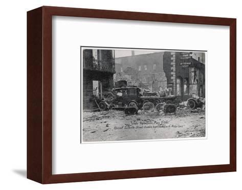 Ruined Sackville Street, Dublin, Barricaded with Motor Cars--Framed Art Print