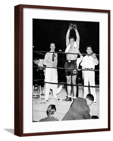 Primo Carnera Celebrates Victory, New York, 1933--Framed Art Print