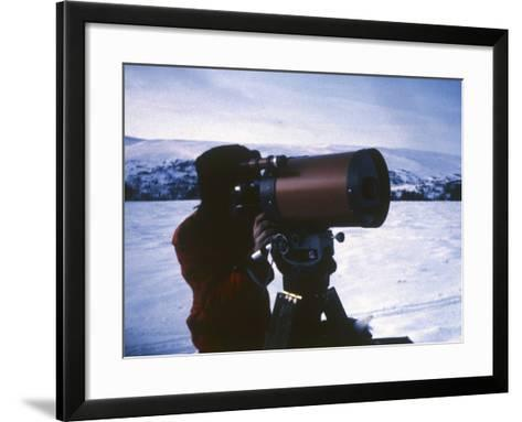 Project Member Leif Havik Tests Observational Equipment, at Vaarhus Kjoelen, Norway--Framed Art Print