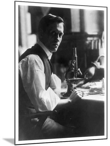 Sir Alexander Fleming - Scottish Bacteriologist at His Desk with His Microscope--Mounted Photographic Print