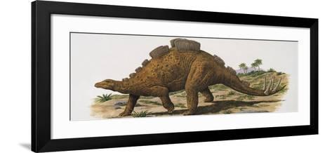 Wuerhosaurus Dinosaur Walking on a Landscape--Framed Art Print