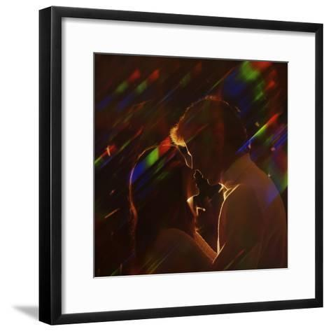 Silhouette of Couple Embracing-Dennis Hallinan-Framed Art Print