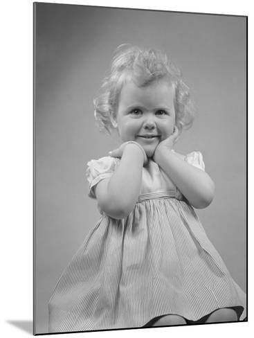 Baby Girl Smiling with Hands Next to Face--Mounted Photographic Print