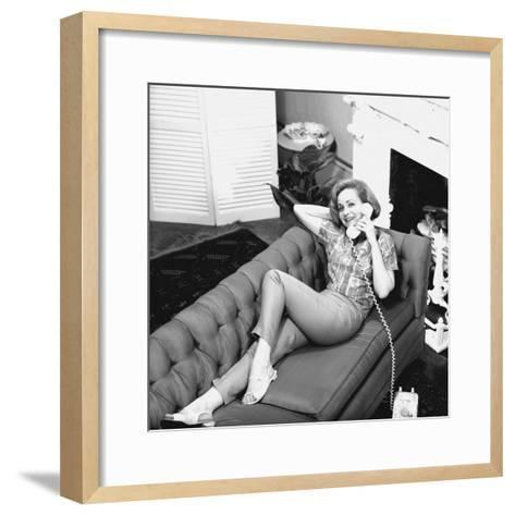 Woman Lying on Sofa, Talking on Phone-George Marks-Framed Art Print