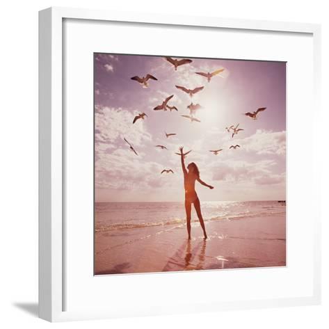 Woman Feeding Seagulls-Dennis Hallinan-Framed Art Print