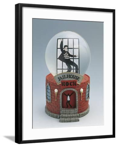 Close-Up of a Figurine of Elvis Presley Dancing in a Snow Globe--Framed Art Print