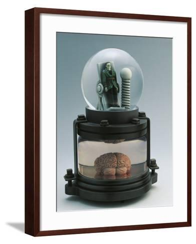 Close-Up of a Figurine of Frankenstein in a Snow Globe--Framed Art Print