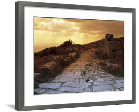 High Angle View of the Sacred Way, Ancient Thera, Santorini, Cyclades Islands, Southern Aegean-De Agostini-Framed Art Print