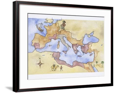 Ancient Rome, Map of Roman Empire, Illustration--Framed Art Print