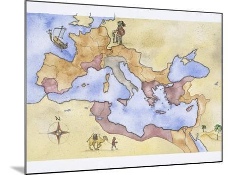 Ancient Rome, Map of Roman Empire, Illustration--Mounted Photographic Print