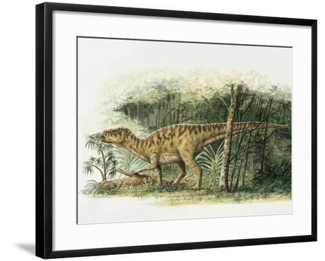 Rhabdodon Dinosaur Eating Plants in the Forest--Framed Art Print