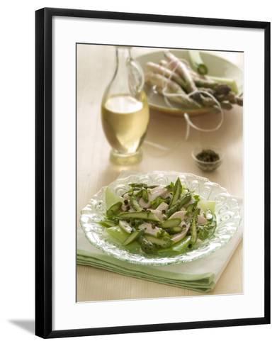Close-Up of Chicken Salad with a Bottle of Balsamic Vinegar-A^ Romiti-Framed Art Print