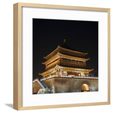 China, Shaanxi Province, Xian, Night View of Ancient Drum Tower-Keren Su-Framed Art Print