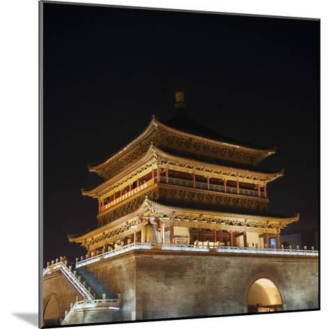 China, Shaanxi Province, Xian, Night View of Ancient Drum Tower-Keren Su-Mounted Photographic Print