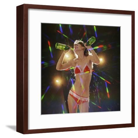 Go Go Dancer Pouring Water on Herself-Dennis Hallinan-Framed Art Print