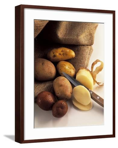 High Angle View of Raw Potatoes with a Knife-P^ Martini-Framed Art Print
