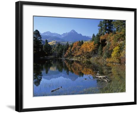 Colorful Autumn Forest in Front of Mount Sneffels Reflected in Water-Jeff Foott-Framed Art Print