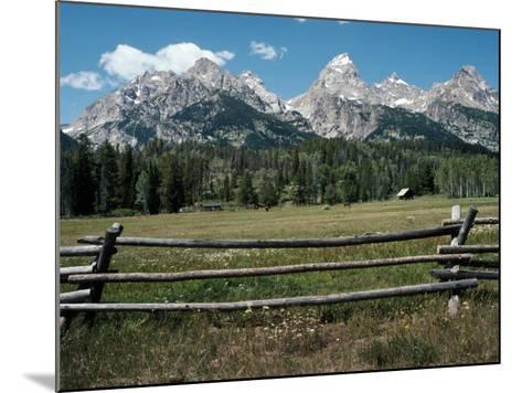 Farmland with Mountains in Background, Teton Np, Wyoming, Usa-Jeff Foott-Mounted Photographic Print