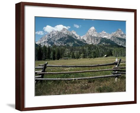 Farmland with Mountains in Background, Teton Np, Wyoming, Usa-Jeff Foott-Framed Art Print