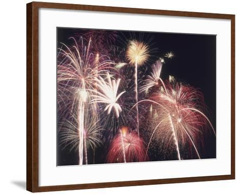 A View of Many Colorful Sparkling Fourth of July Fireworks Against the Nighttime Sky-Jeff Foott-Framed Art Print