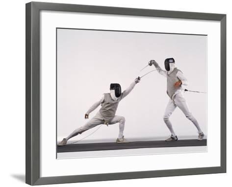 Male Fencer Making Lunging Attack in Foil--Framed Art Print