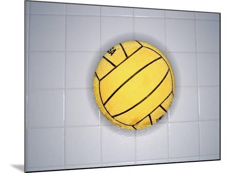 Water Polo Ball on Tile, Overhead View--Mounted Photographic Print