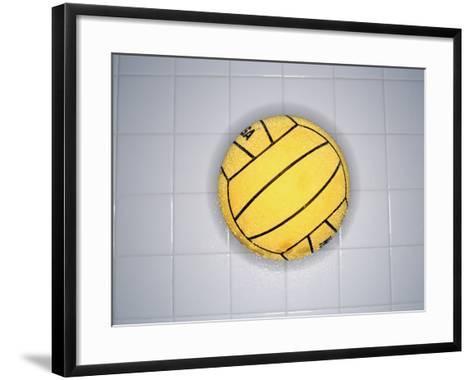 Water Polo Ball on Tile, Overhead View--Framed Art Print
