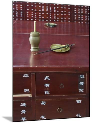 China, Beijing, Traditional Chinese Medicine Pharmacy, Scale and Mortar on the Counter-Keren Su-Mounted Photographic Print