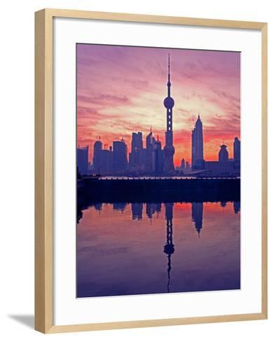 China, Shanghai, Oriental Pearl Tv Tower with Pudong Skyline at Sunrise-Keren Su-Framed Art Print