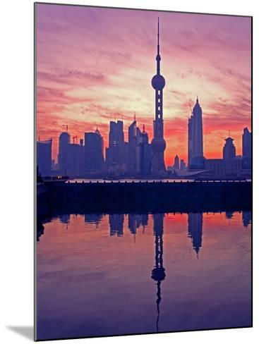 China, Shanghai, Oriental Pearl Tv Tower with Pudong Skyline at Sunrise-Keren Su-Mounted Photographic Print