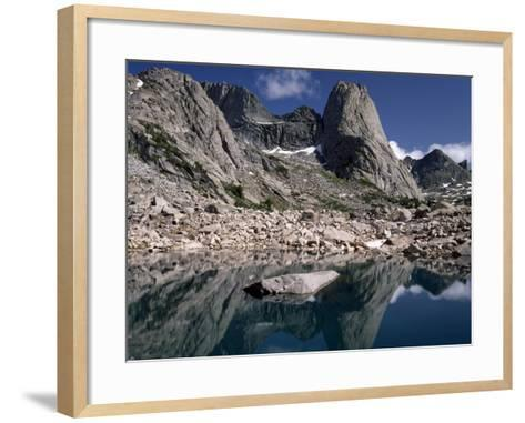 Rugged Landscape with Pingora Peak Reflection in Hidden Lake, Cirque of the Towers-Jeff Foott-Framed Art Print