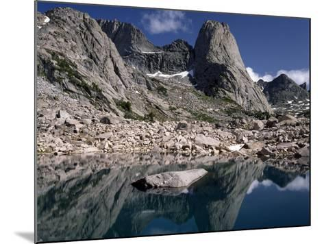 Rugged Landscape with Pingora Peak Reflection in Hidden Lake, Cirque of the Towers-Jeff Foott-Mounted Photographic Print