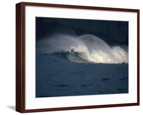 Detailed View of Curling Waves in the Surf under a Black Sky-Jeff Foott-Framed Art Print