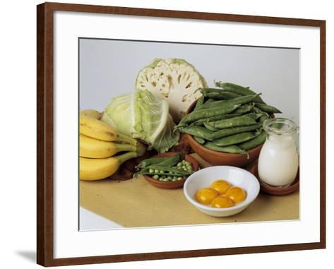 Close-Up of Fruits and Vegetables with a Jug of Milk-I^ Taborri-Framed Art Print