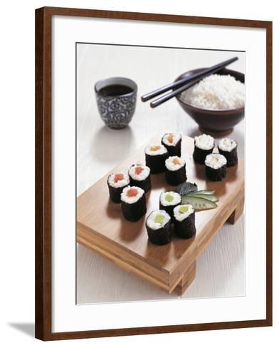 Close-Up of Sushi Rolls with a Bowl of Rice and Chopsticks--Framed Art Print