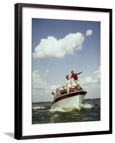 Couples Enjoy Speed Boat Ride-Dennis Hallinan-Framed Art Print