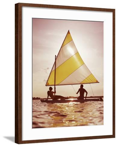 Couple Sailing on Small Boat-Dennis Hallinan-Framed Art Print